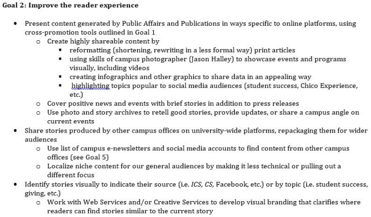 Excerpt from the 2015 edition of the comprehensive CSU, Chico Digital Media Strategy.