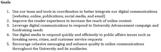 Goals for the CSU, Chico Digital Media Strategy 2015.